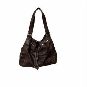 Perlina brown all leather hobo bag